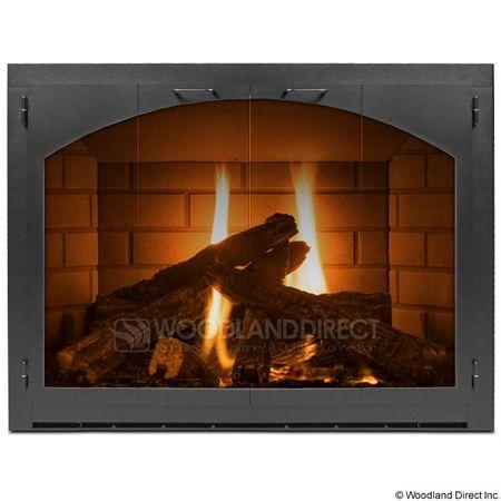 Carolina Arch Fireplace Glass Door Full View Woodlanddirect
