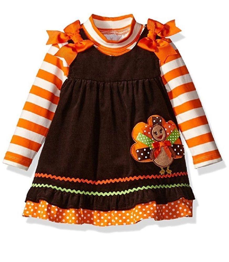 b98fffbae618 Rare Editions Baby Girls Fall Thanksgiving Turkey Corduroy Jumper Dress 18M  New #RareEditions #ThanksgivingCasualParty