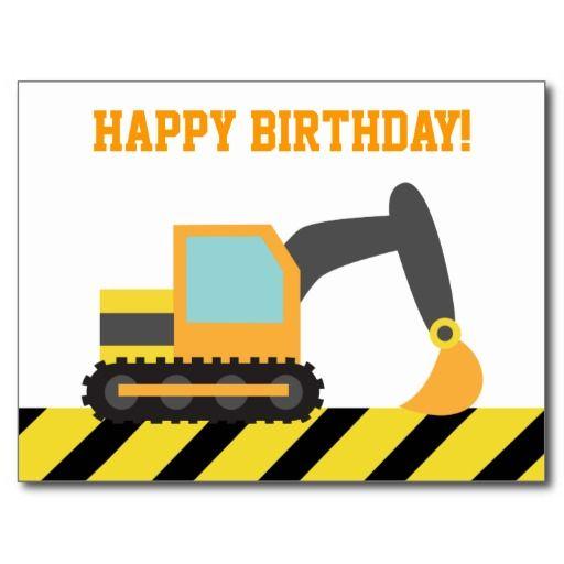 Excavator Construction Vehicle Happy Birthday Postcard Zazzle Com In 2021 Birthday Party Paper Plates Birthday Postcards Construction Birthday