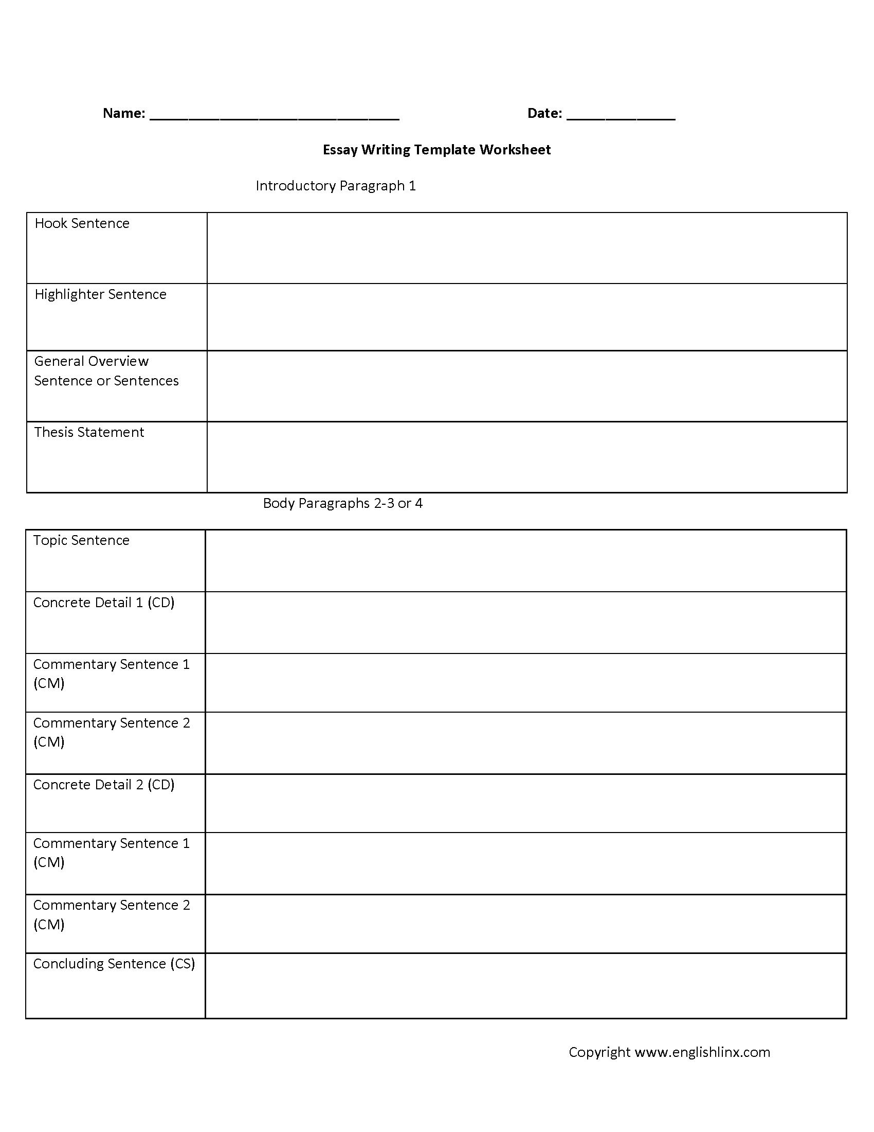 Essay Writing Template Worksheet