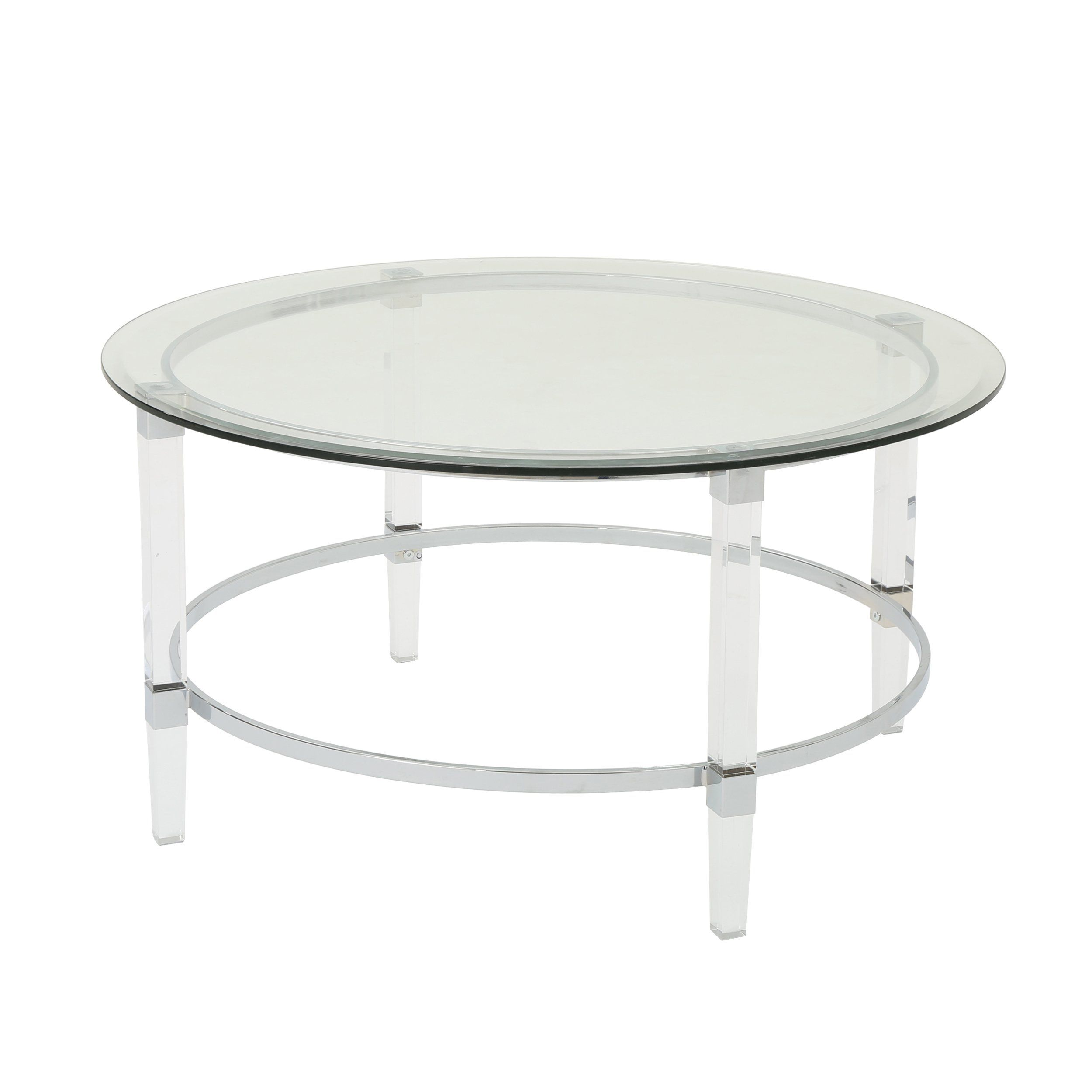 Lynn Modern Round Tempered Glass Coffee Table With Acrylic And Iron Accents In 2021 Coffee Table Round Glass Coffee Table Acrylic Coffee Table [ 2500 x 2500 Pixel ]