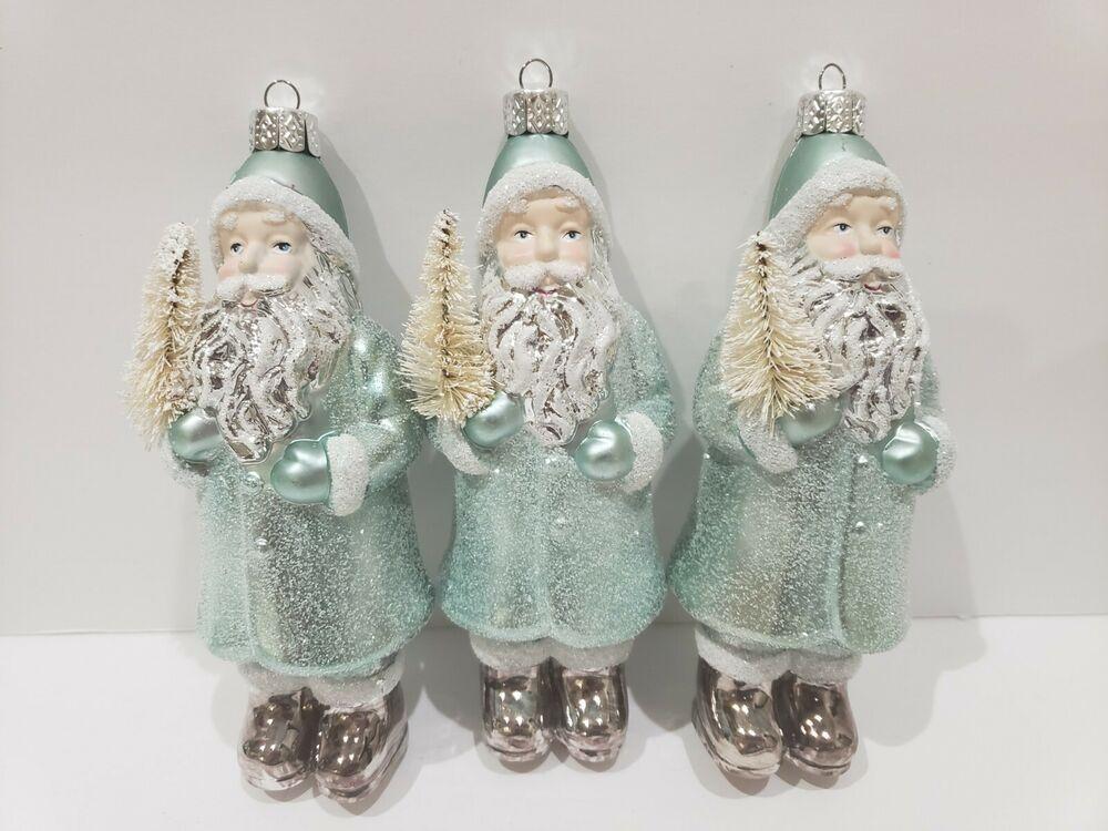 3 Coastal Beach Santa Claus Aqua Mint Green Glitter Christmas