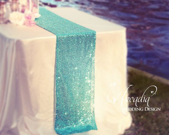 Mint Green Sequin Table Runner Glitter Wedding Table