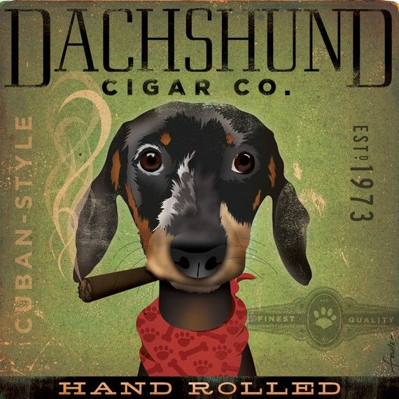 Dachshund Cigar Company Graphic Dog Art Illustration Signed Artist