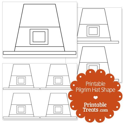 printable pilgrim hat shape template from printabletreatscom