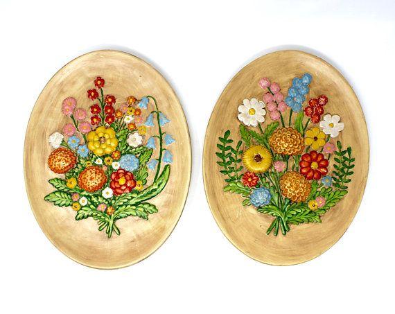 Pair of Vintage Floral Chalkware Ceramic Wall Hangings - Mid Century ...