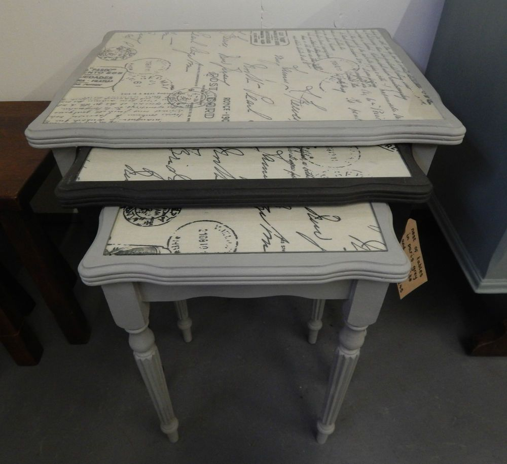 Set Of 3 Nest Of Tables Painted In Annie Sloan Paris Grey And Graphite Paint