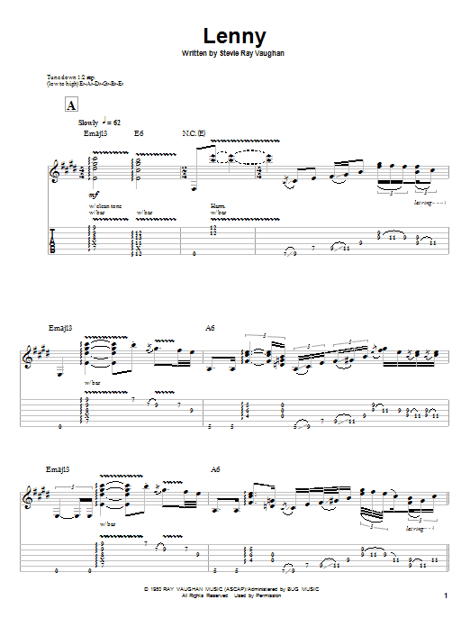 Lenny Guitar Tab By Stevie Ray Vaughan Guitar Tab 55418 Srv
