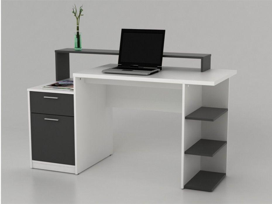 Bureau Avec Rangements Zacharie Blanc Et Gris Muebles De Oficina Modernos Escritorios De Oficina En Casa Diseno De Escritorio