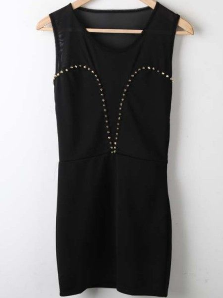 Black Round Neck Sleeveless Rivet High Waist Chiffon Dress
