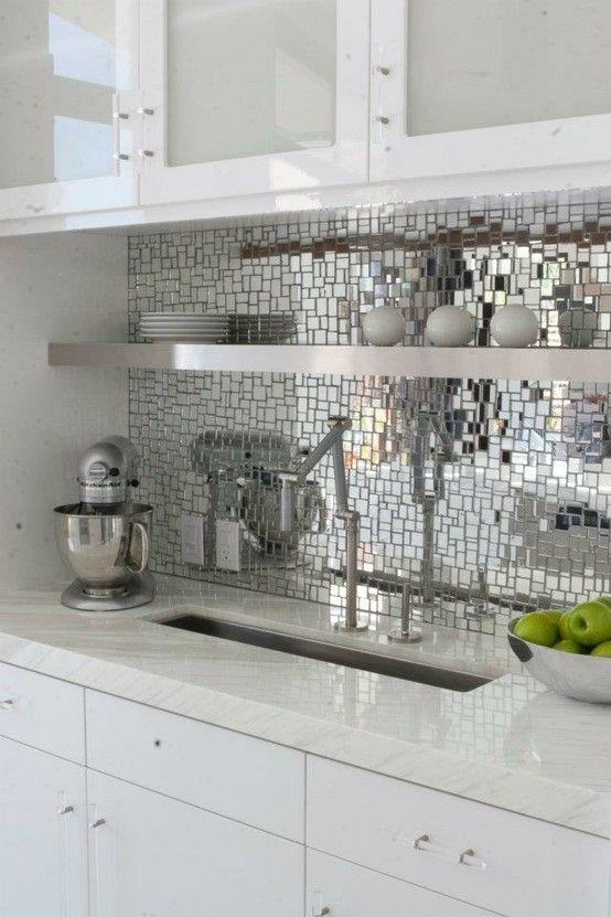 Oh So Silver Mirror Mosaic Tile Backsplash Kitchen Mirror