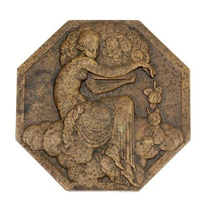 8-Sided bronze Art Deco relief-coin executed on the occasion of the ...