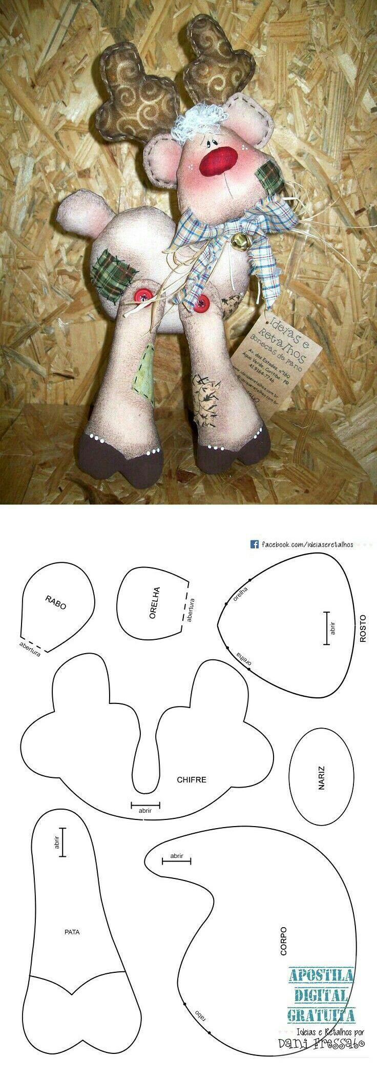 Stuffed Reindeer pattern | reno navidad | Pinterest | Natale ...
