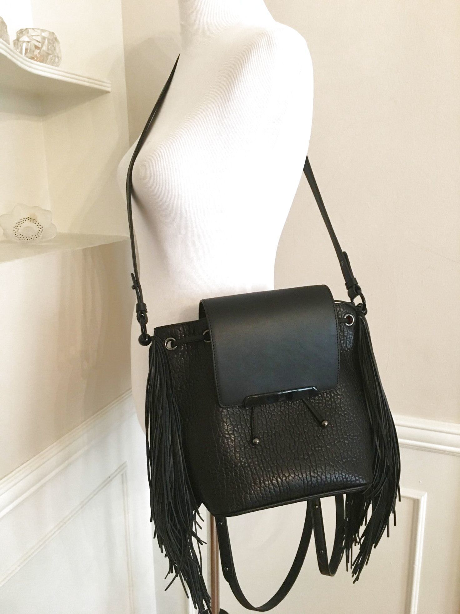 ad66ece6d39 Christian Louboutin Lucky L Fringed Pebbled Leather Hobo Bag Black ...
