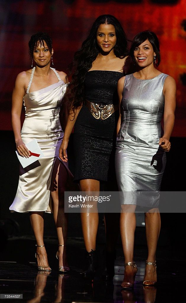 Actresses Tracie Thoms, Sydney Tamiia Poitier, and Rosario Dawson present  the 'Best R&B/Soul Album Group, Band or Duo' award onstage during the 21st  Annual ...
