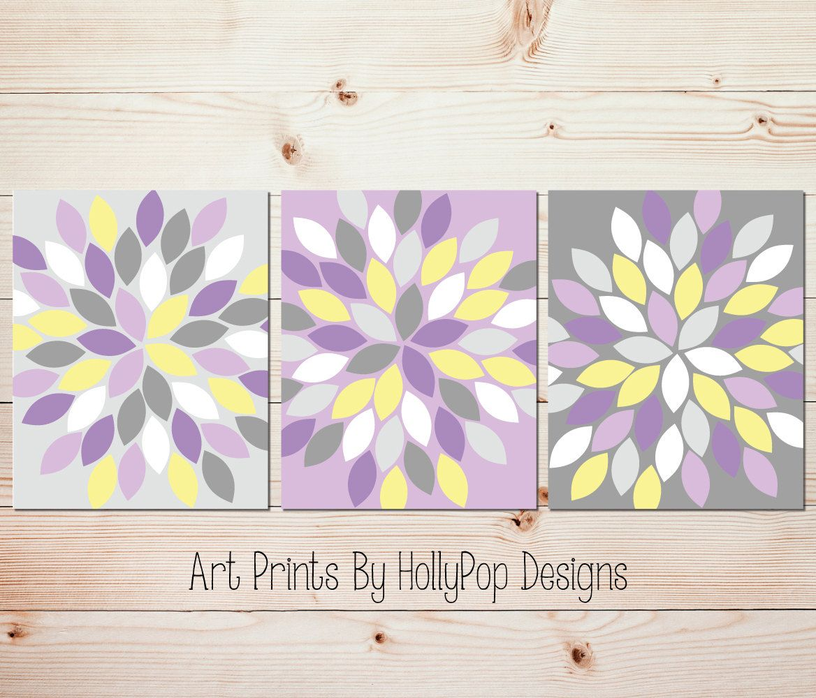 Purple And Gray Wall Art purple yellow gray wall art bedroom wall art bathroom wall art
