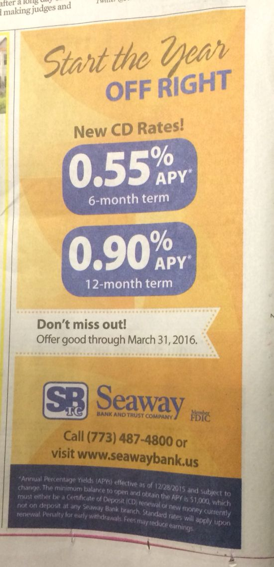 Chicagos Seaway Bank Touts 6 12 Month Cds W 055 09 Apys