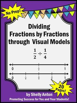 Dividing Fractions With Visual Models Worksheets 5th Grade Math