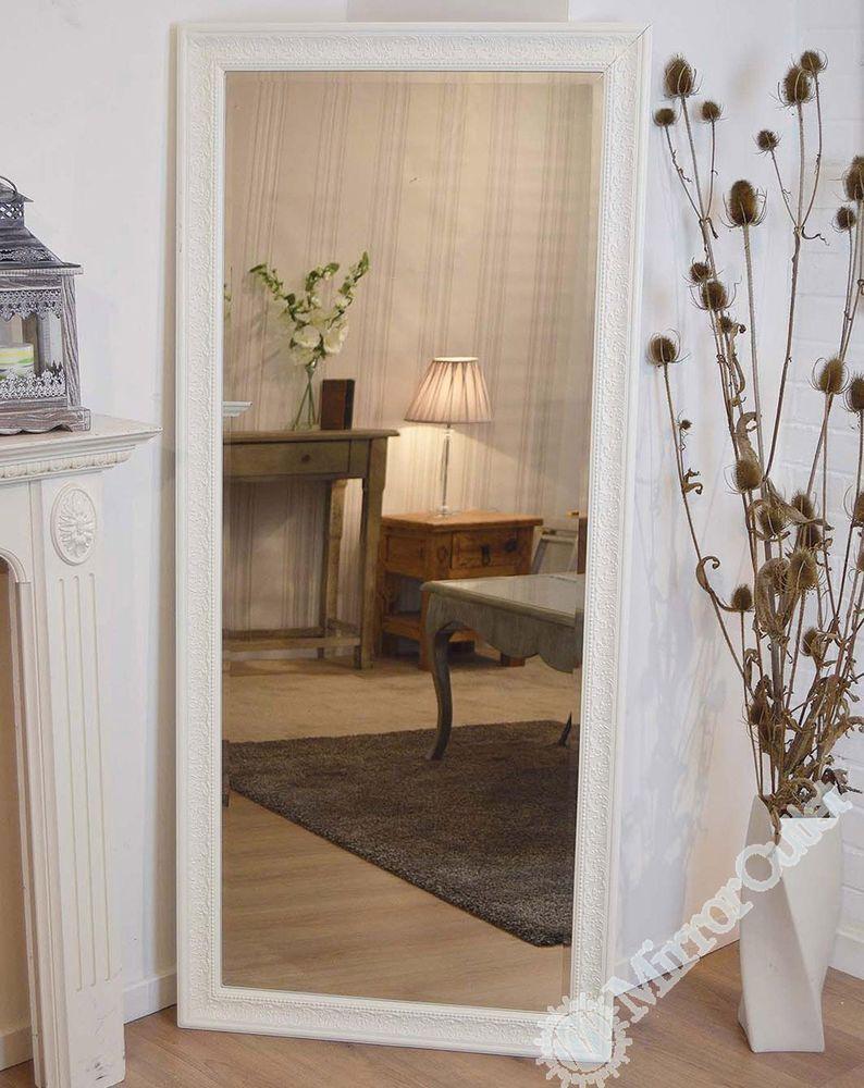 Large Antique Design Full Length Cream Wall Mirror 5ft3 x