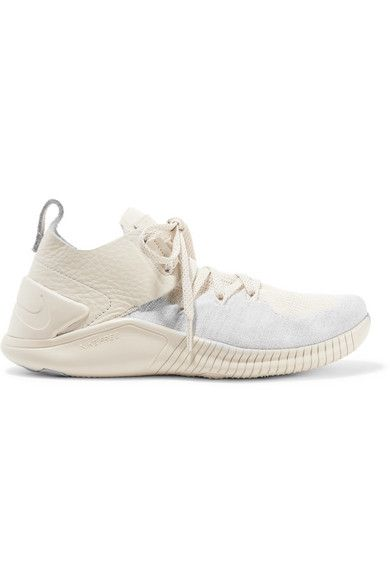 new concept 16b12 6fbc1 Nike   Free TR 3 Champagne crinkled leather-trimmed Flyknit sneakers    NET-A-PORTER.COM