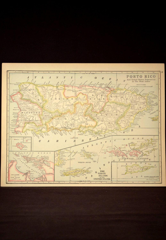 Puerto Rico Map Virgin Islands Map Antique Original 1920s ...