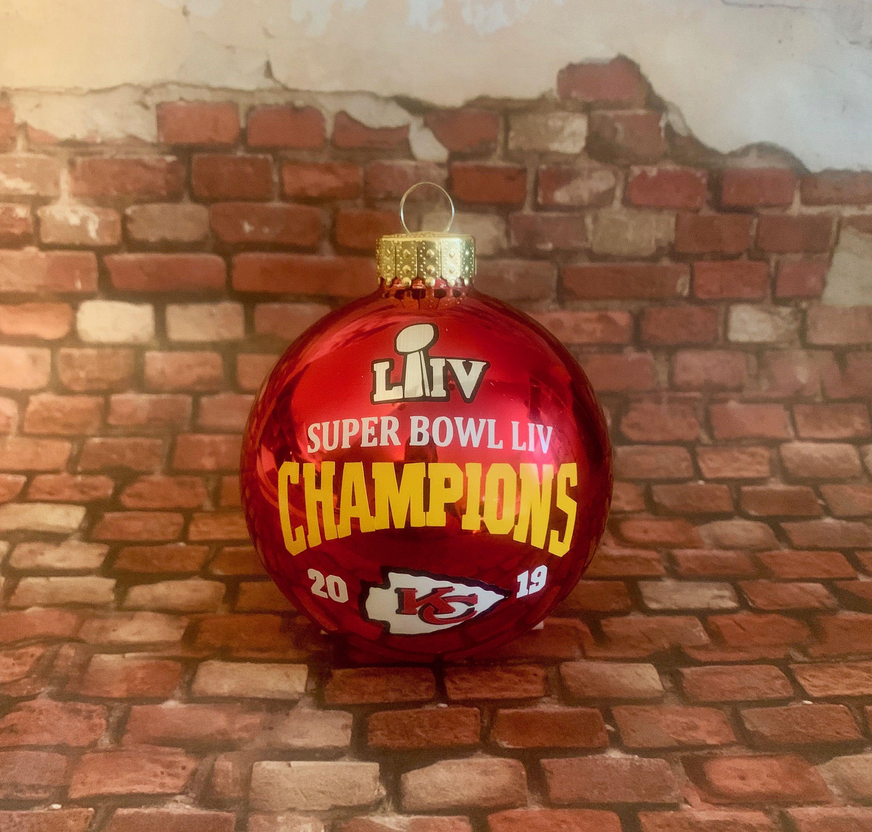 Superbowl 2020 Christmas Ornaments KANSAS CITY CHIEFS 2020 Super Bowl 54 Champions 80mm Red Glass