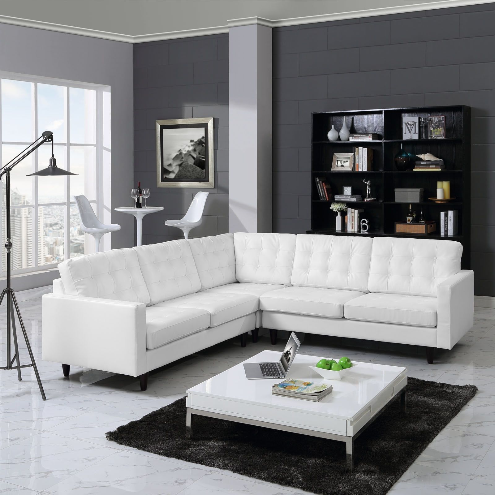 Modway Empress 3-Piece Leather Sectional Sofa Set (Black) | Leather ...