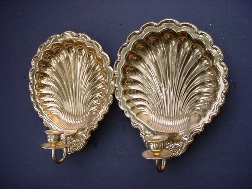 Metal Wall Sconce Candle Holder 2 vintage brass metal wall sconce sea shell candle holders | ebay