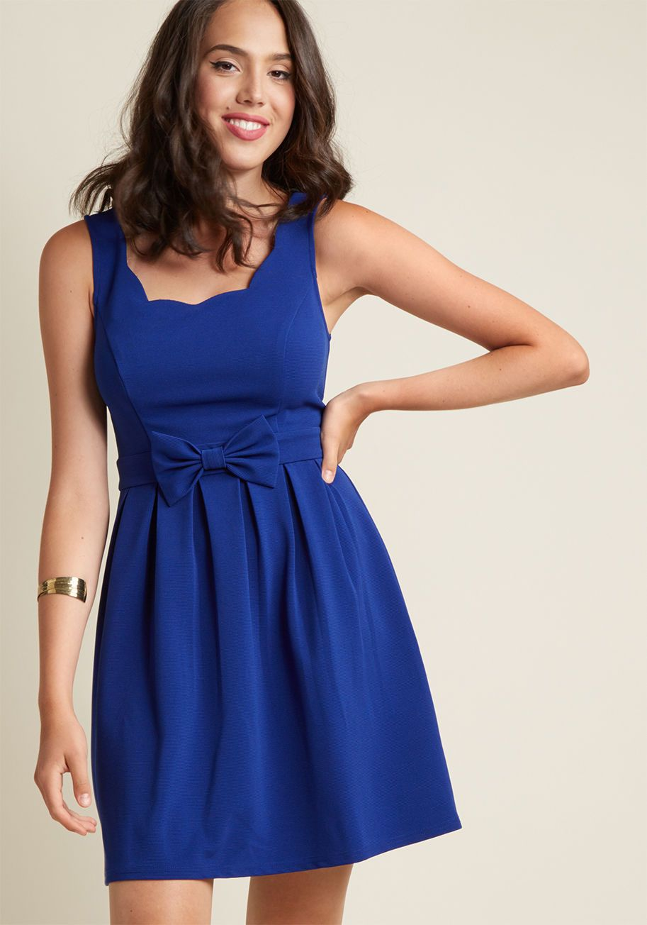 Scalloped Pleated A-Line Dress in Cobalt | ModCloth, Cobalt and Blue ...