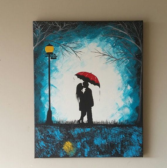 Original Couple In Rain Painting Couple Kissing In The