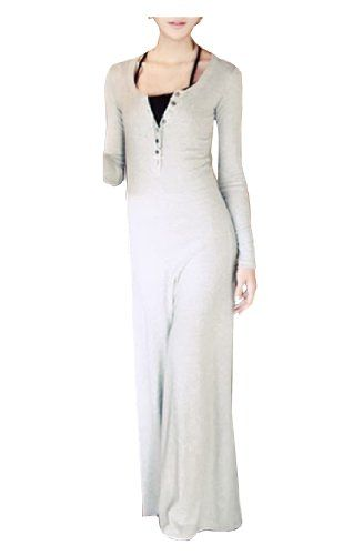 CA Fashion Women's Crew Neck Buttons Long Sleeve Maxi Long Dress (Grey) CA Fashion,http://www.amazon.com/dp/B00H1QY35O/ref=cm_sw_r_pi_dp_rCjttb0WSQHSN4ET