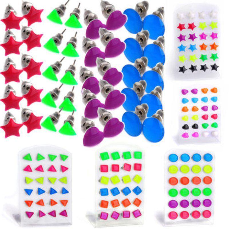 Lot 24pcs Wholesale Mixed Color Earring Studs Triangle Star Flower Heart Stud Earrings Women Jewelry