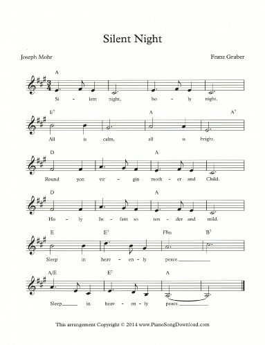Silent Night Lead Sheet From Piano Song Download Piano Lead