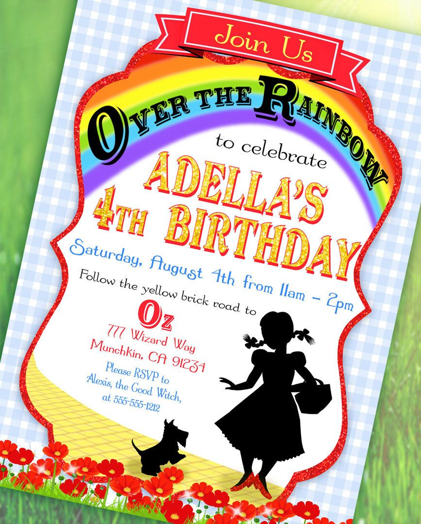 Wizard Of Oz Inspired Invitation Over The Rainbow Collection