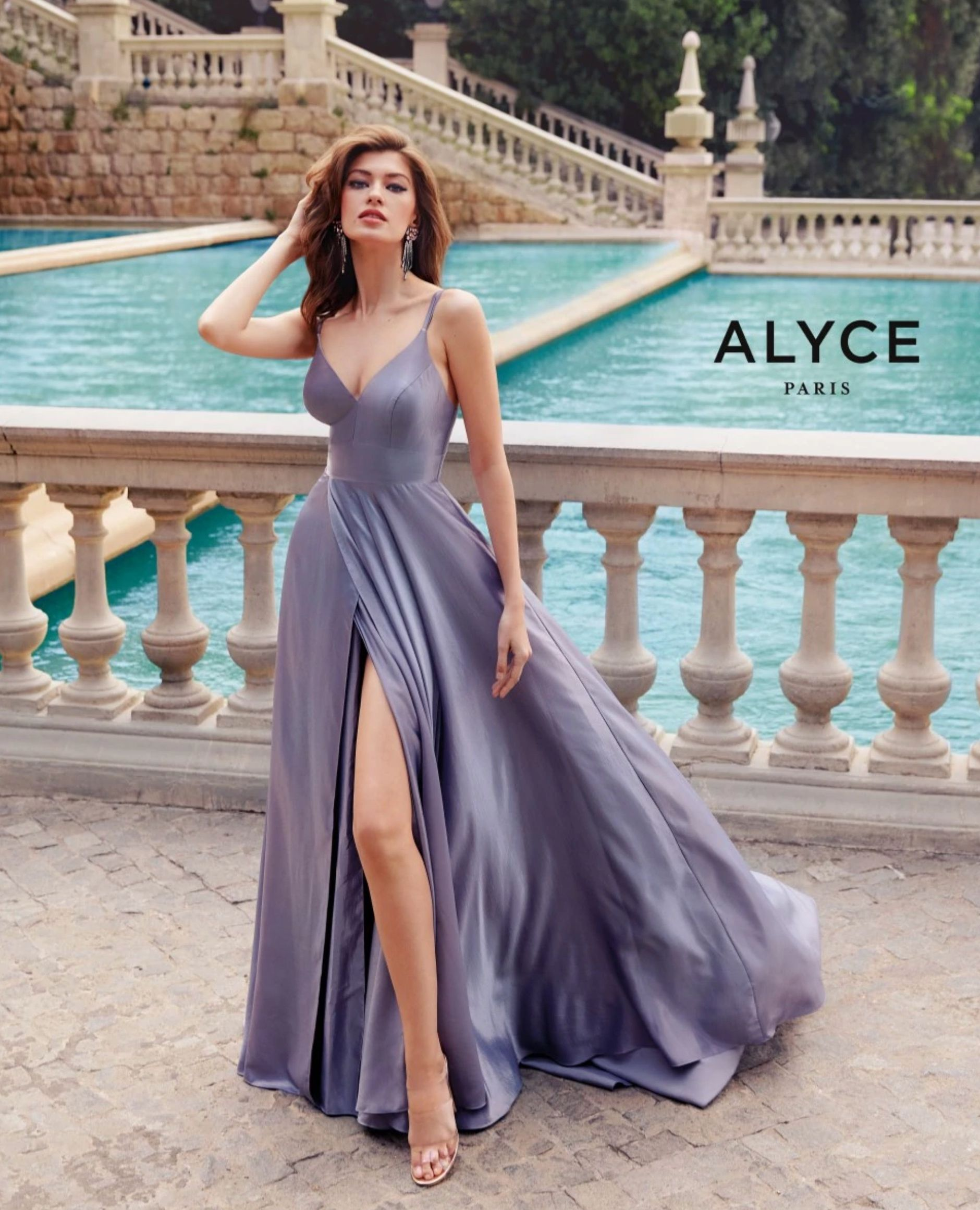 Formal Dress 60624 Long V Neck Medium Fullness In 2021 Lilac Prom Dresses Spring Prom Dresses Lavender Prom Dresses [ 2321 x 1880 Pixel ]