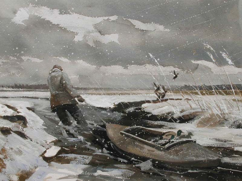 """""""Duck Hunting"""" by Chet Reneson Reneson lives this. He has experienced the wind and cold many, many times in Old Lyme's 500-acre Great Island salt marsh."""