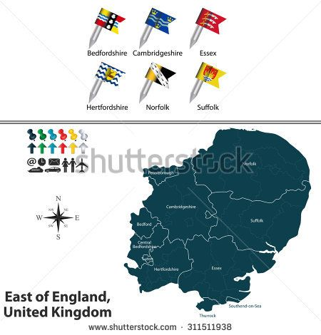 Vector map of east of england united kingdom with regions and flags vector map of east of england united kingdom with regions and flags gumiabroncs Image collections
