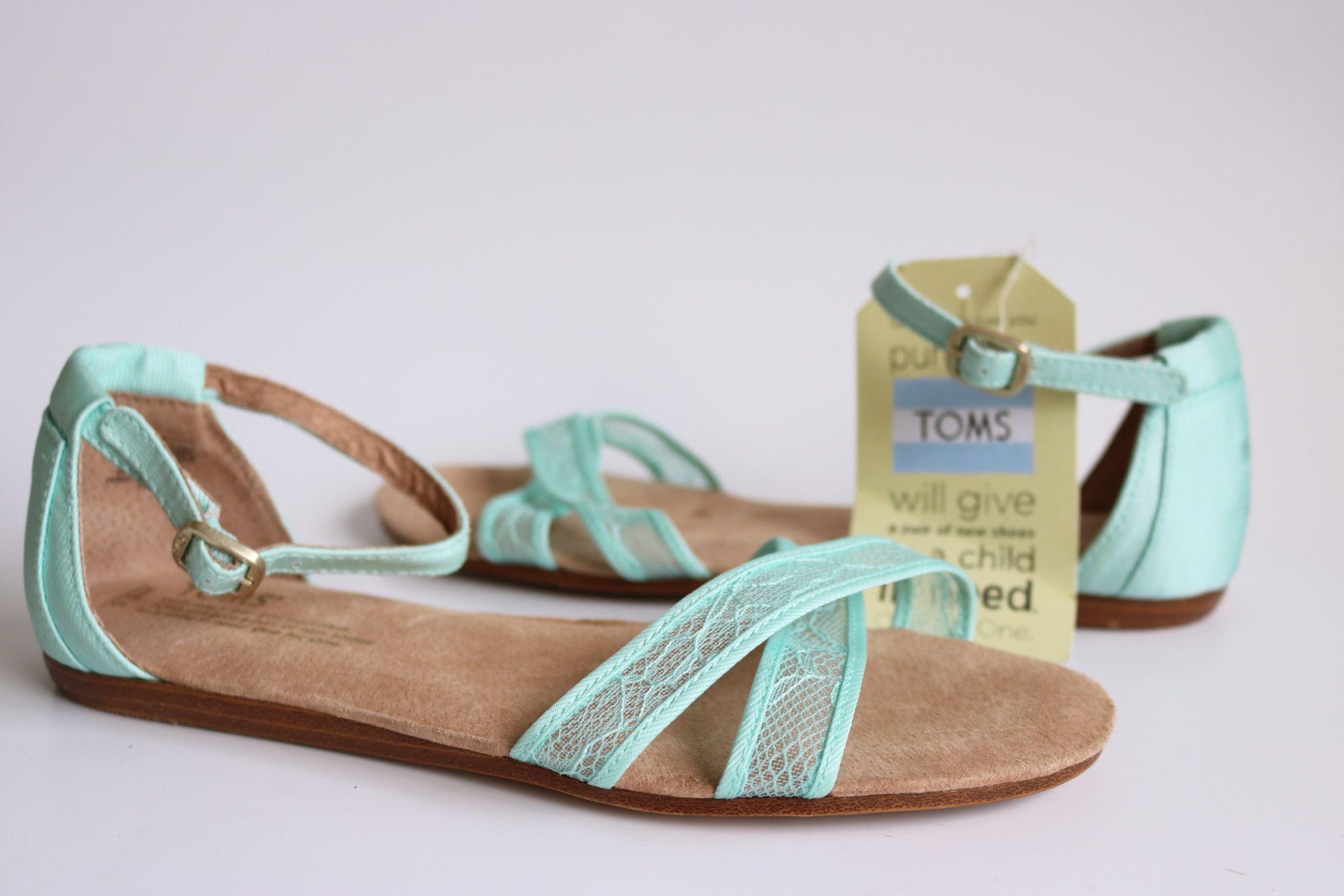 8d98eaa9986a TOMS Womens 301214 Light Blue Lace Correa Satin Ankle Strap Dress Sandals  Size 6.5