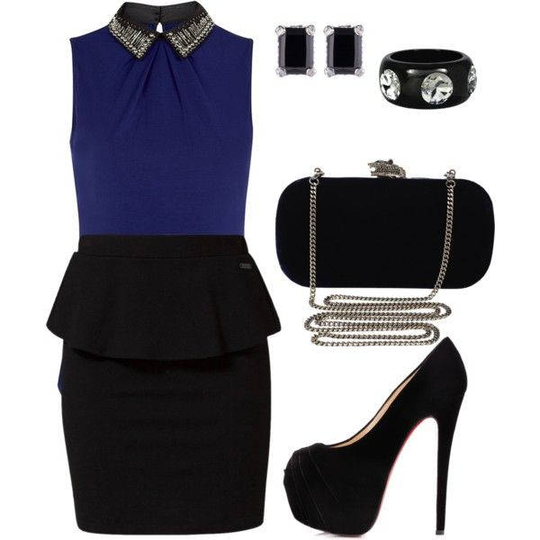 Black and Blue/Embellished Collar