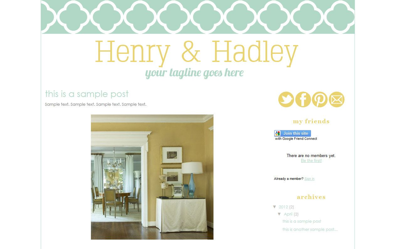 Henry Hadley Premade Blogger Template Design 3500 Via Etsy