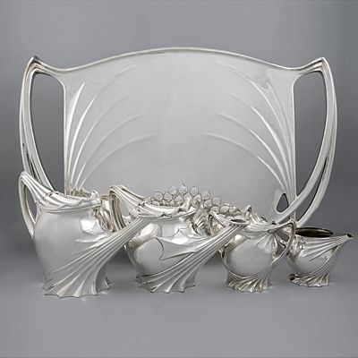 French Art Nouveau Silver Tea Service by Follot