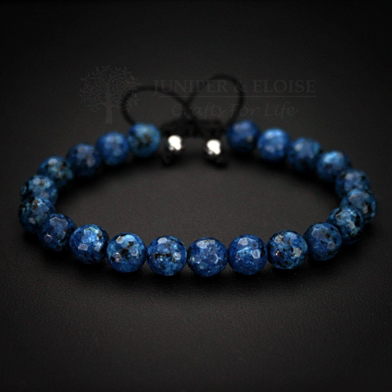 Beaded bracelet mens bracelet blue jade beads adjustable