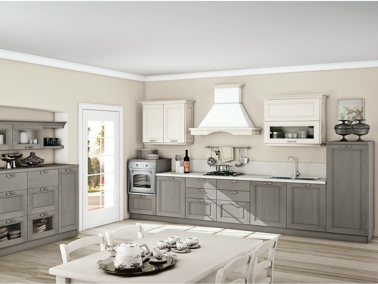 Linear ash fitted kitchen with handles RAILA by CREO