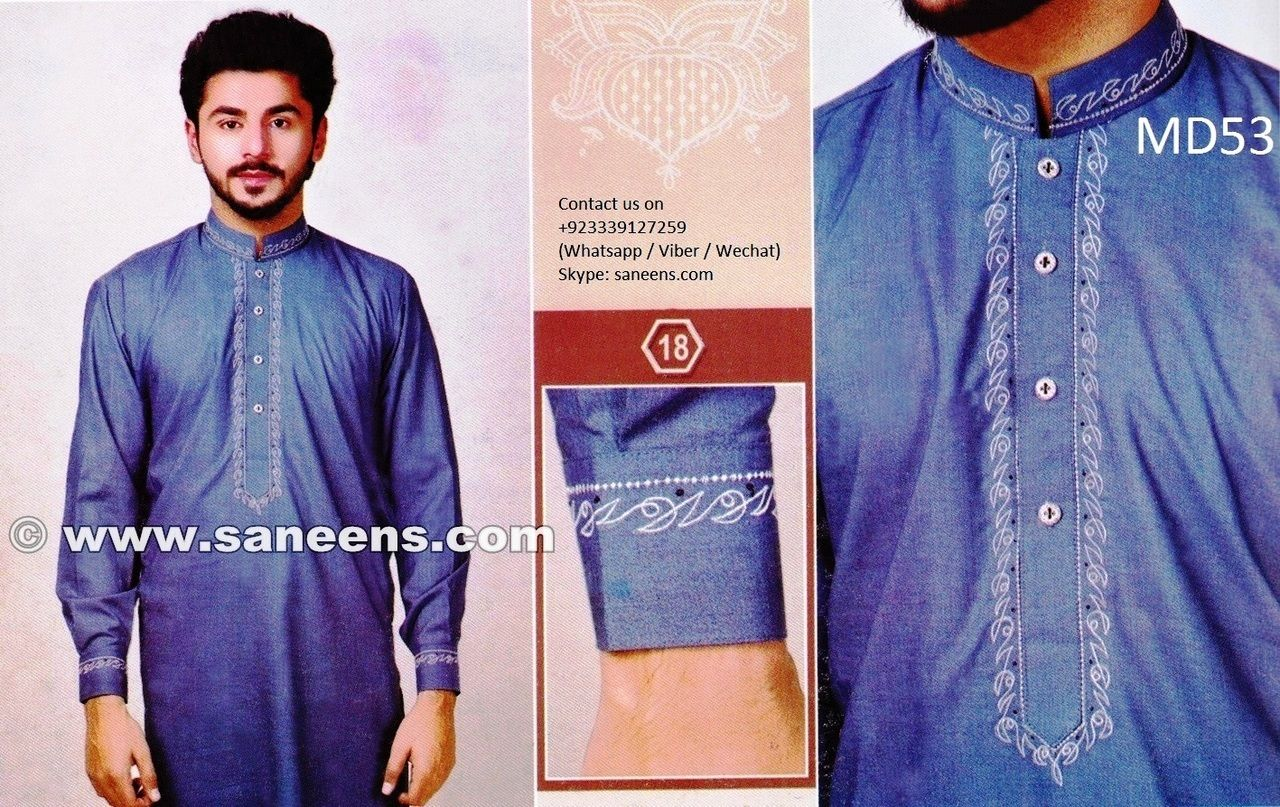 Mens designer clothes menswear in blue color afghan clothing