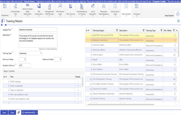 A detailed training planner that allows users to schedule
