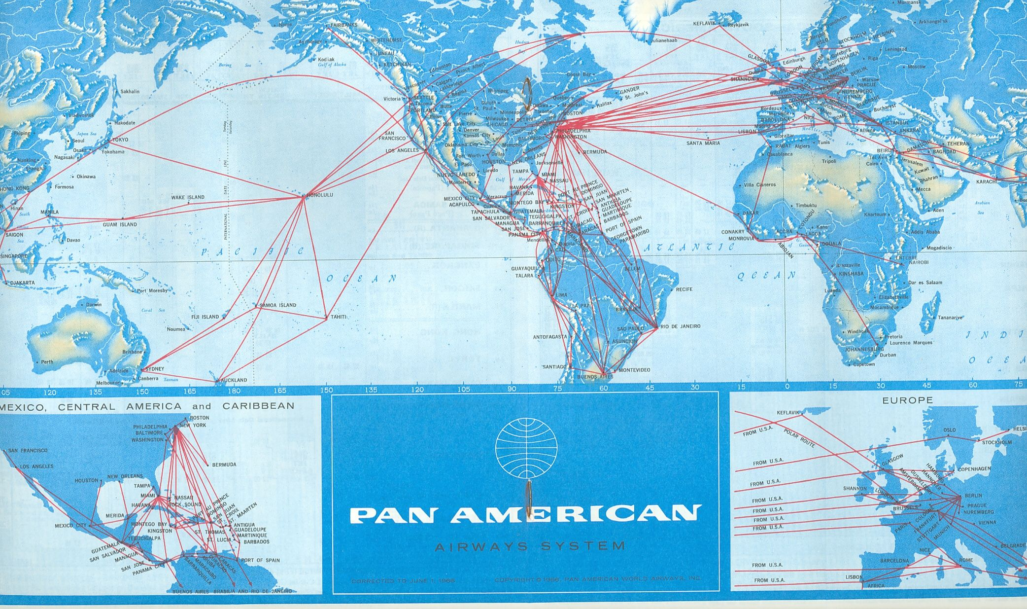 Route Map 1966 Map Pan Am Map Puzzle