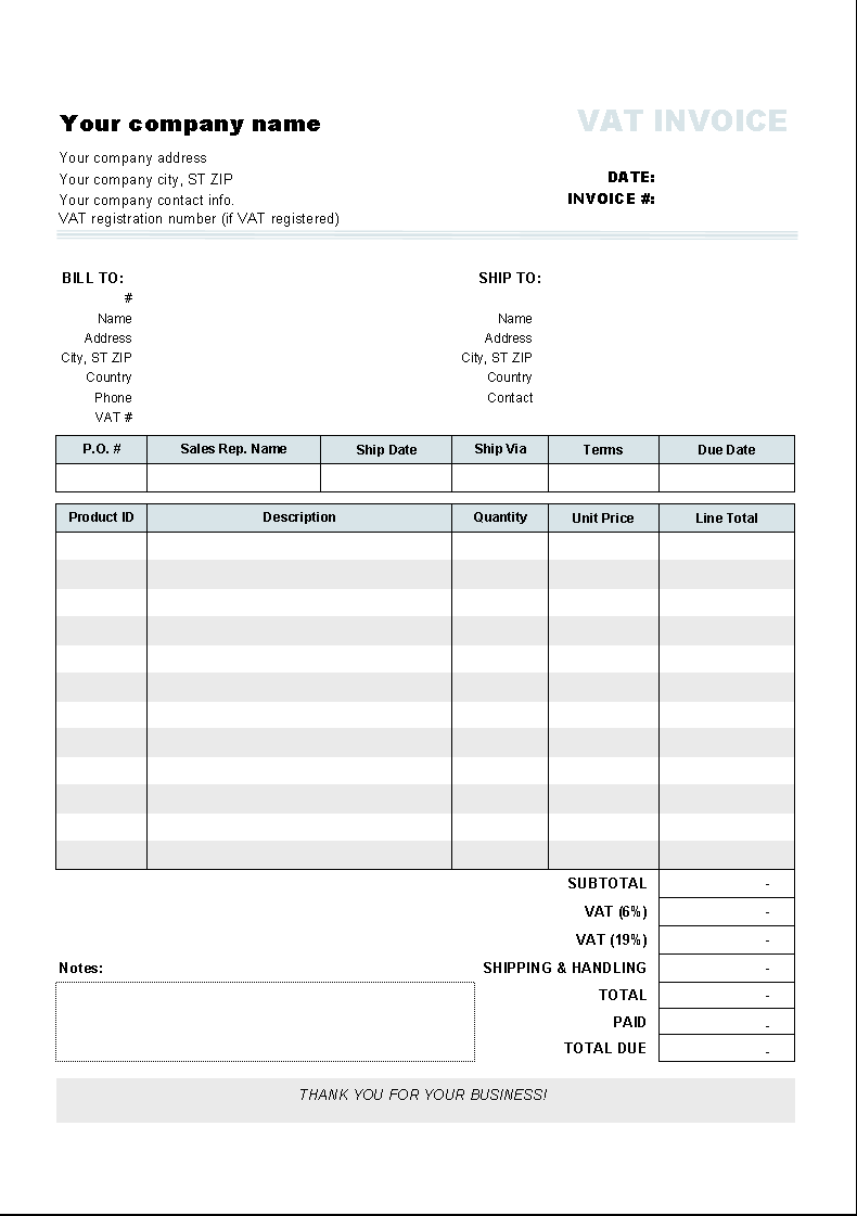 This Free Vat Invoice Template Has Two Vat Rates That Can Be Set On The Bottom Of The Invoice Form When Invoice Template Invoice Example Invoice Template Word