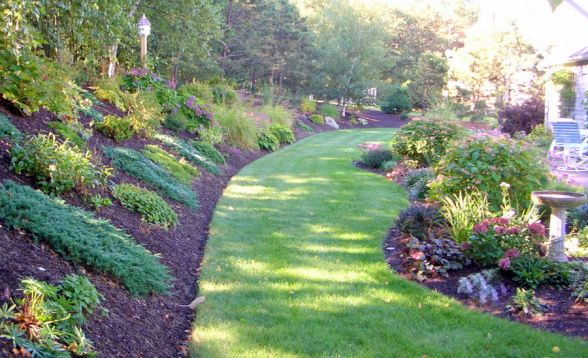 Summer S End In New England Lawn And Landscape Landscaping On A Hill Courtyard Landscaping