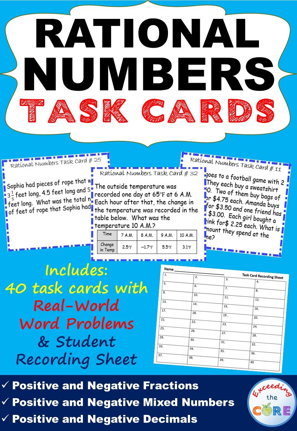 Rational Numbers (fractions & Decimals) Word Problems Task Cards {40 Cards}  Add