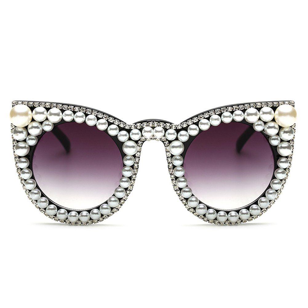 88e6f4201b3 Oversized Rhinestone Glasses for women Big Cat Eye Sunglasses Sun Glasses  Luxury Brand black    For more information